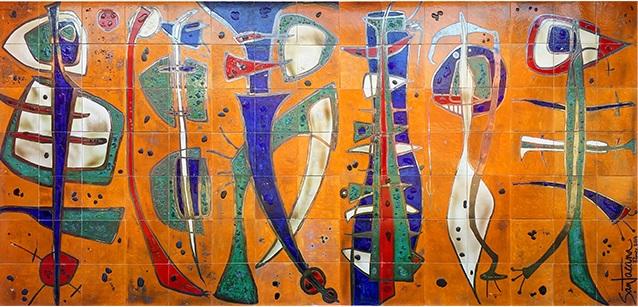 Versos libres (2014) Mural. 5x2.5 m Losas de cerámicas vitrificadas, esmaltadas con esmaltes semimates y brillantes, óxidos metálicos, pigmentos y vidrios fundidos..png